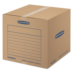 Fellowes SmoothMove Basic Moving Boxes, Medium, Regular Slotted Container (RSC), 18 in x 18 in x 16 in, Brown Kraft/Blue, 20/Bundle