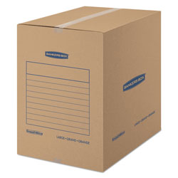 Fellowes SmoothMove Basic Moving Boxes, Large, Regular Slotted Container (RSC), 18 in x 18 in x 24 in, Brown Kraft/Blue, 15/Carton