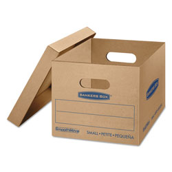 Fellowes SmoothMove Classic Moving and Storage Boxes, Small, Half Slotted Container (HSC), 15 x 12 x 10, Brown Kraft/Blue, 10/Carton