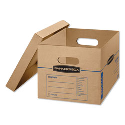 Fellowes SmoothMove Classic Moving & Storage Boxes, Small, Half Slotted Container (HSC), 15 in x 12 in x 10 in, Brown Kraft/Blue, 15/Carton