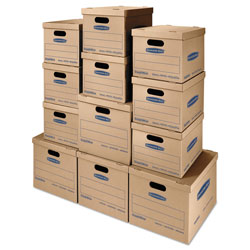 Fellowes SmoothMove Classic Moving & Storage Boxes, Assorted Sizes, Half Slotted Container (HSC), Brown Kraft/Blue, 12/Carton
