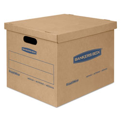 Fellowes SmoothMove Classic Moving & Storage Boxes, Medium, Half Slotted Container (HSC), 18 in x 15 in x 14 in, Brown Kraft/Blue, 8/Carton