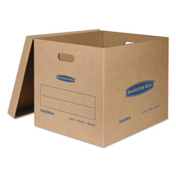 Fellowes SmoothMove Classic Moving & Storage Boxes, Large, Half Slotted Container (HSC), 21 in x 17 in x 17 in, Brown Kraft/Blue, 5/Carton