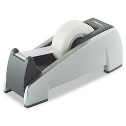 Fellowes Office Suites Desktop Tape Dispenser, 1 in Core, Plastic, Heavy Base, Black/Silver