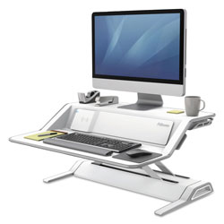 Fellowes Lotus DX Sit-Stand Workstation, 32.75w x 24.25d x 22.5h, White