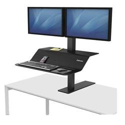 Fellowes Lotus VE Sit-Stand Workstation - Dual, 29w x 28.5d x 42.5h, Black