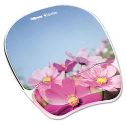 Fellowes Gel Mouse Pad w/Wrist Rest, Photo, 9 1/4 x 7 1/3, Pink Flowers