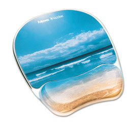Fellowes Gel Mouse Pad w/Wrist Rest, Photo, 7 7/8 x 9 1/4, Sandy Beach