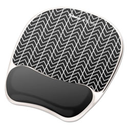 Fellowes Photo Gel Wrist Rest with Microban, 7 7/8 x 9 1/4 x 7/8, Black/White