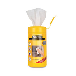 Fellowes Screen Cleaning Wet Wipes, 5.12 in x 5.90 in, 100/Tub