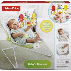 Fisher-Price Baby's Bouncer, 24 inWx18-9/10 inLx20-1/10 inH, Gray/White