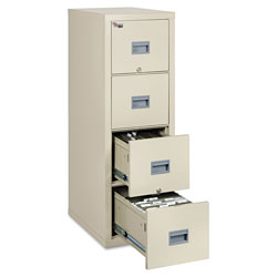 Fireking Patriot Insulated Four-Drawer Fire File, 17.75w x 25d x 52.75h, Parchment