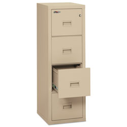 Fireking Turtle Four-Drawer File, 17.75w x 22.13d x 52.75h, UL Listed 350° for Fire, Parchment