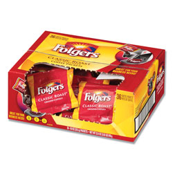 Folgers Coffee, Classic Roast, 0.9 oz Fractional Packs, 36/Carton