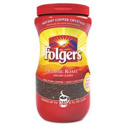Folgers Instant Coffee Crystals, Classic Roast, 16oz Jar