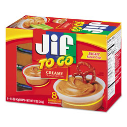 Jif To Go Spreads, Creamy Peanut Butter, 1.5 oz Cup, 8/Box