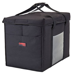Cambro GBD211417110 Customizable Insulated Black Large Folding Delivery Bag GoBag™ - 21 in x 14 in x 17 in