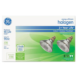 GE Energy-Efficient PAR38 Halogen Bulb, 80 W, 2/Pack