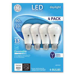 GE LED Daylight A19 Dimmable Light Bulb, 10 W, 4/Pack