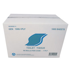 GEN Small Roll Bath Tissue, Septic Safe, 1-Ply, White, 1000 Sheets/Roll, 96 Rolls/Carton