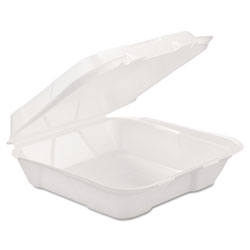 Generations Consumer Foam Hinged Carryout Container, 1-Comp, White, 9 1/4 X 9 1/4 X 3, 200/Carton