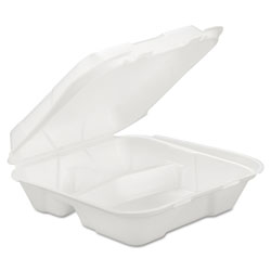 Generations Consumer Foam Hinged Carryout Container, 3-Comp, White, 9 1/4 X 9 1/4 X 3, 200/Carton