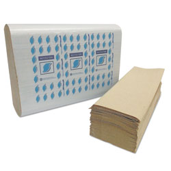 GEN Multi-Fold Paper Towels, 1-Ply, Kraft, 334 Towels/Pack, 12 Packs/Carton