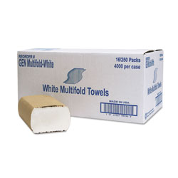 GEN Multifold Towel, 1-Ply, White, 250/Pack, 16 Packs/Carton