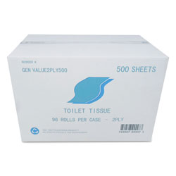 GEN Small Roll Bath Tissue, Septic Safe, 2-Ply, White, 500 Sheets/Roll, 96 Rolls/Carton