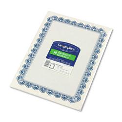 Geographics Parchment Paper Certificates, 8-1/2 x 11, Blue Royalty Border, 50/Pack