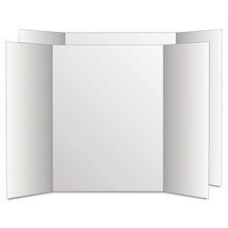 Geographics Too Cool Tri-Fold Poster Board, 28 x 40, White/White, 12/Carton