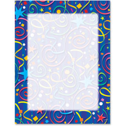 Geographics Design Suite Paper, 24 lbs., Star Confetti, 8 1/2 x 11, Royal Blue, 100/Pack