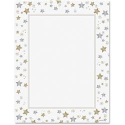 Geographics Design Suite Paper, 24 lbs., Stars & Swirls, 8 1/2 x 11, White, 40/Pack
