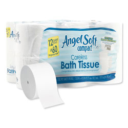 Angel Soft Angel Soft ps Compact Coreless Bath Tissue, 2-Ply, WE, 750 Sheets/Roll, 12 RL/CT