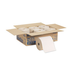 Pacific Blue Basic Recycled Hardwound Paper Towel Roll, Brown, 26301, 800 Feet/Roll, 6 Rolls/Case