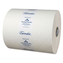 Cormatic Hardwound Roll Towels, 8 1/4 x 700ft, White, 6 Rolls/Carton