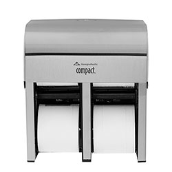 Compact® 4-Roll Quad Coreless High-Capacity Toilet Paper Dispenser, Stainless, 56748, 11.75 in W x 6.9 in D x 13.25 in H