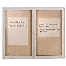 Ghent MFG Enclosed Outdoor Bulletin Board, 48 x 36, Satin Finish