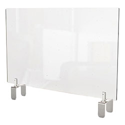 Ghent MFG Clear Partition Extender with Attached Clamp, 42 x 3.88 x 18, Thermoplastic Sheeting