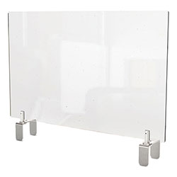 Ghent MFG Clear Partition Extender with Attached Clamp, 36 x 3.88 x 24, Thermoplastic Sheeting