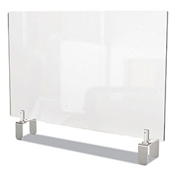 Ghent MFG Clear Partition Extender with Attached Clamp, 42 x 3.88 x 24, Thermoplastic Sheeting