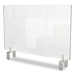 Ghent MFG Clear Partition Extender with Attached Clamp, 29 x 3.88 x 30, Thermoplastic Sheeting