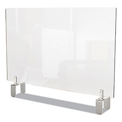 Ghent MFG Clear Partition Extender with Attached Clamp, 42 x 3.88 x 30, Thermoplastic Sheeting