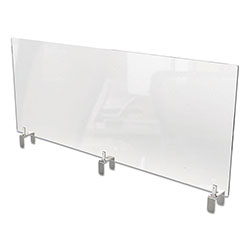 Ghent MFG Clear Partition Extender with Attached Clamp, 48 x 3.88 x 30, Thermoplastic Sheeting