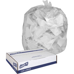 Genuine Joe Clear Trash Bags, 30 Gallon, 0.6 Mil, 30 in X 36 in, Box of 250