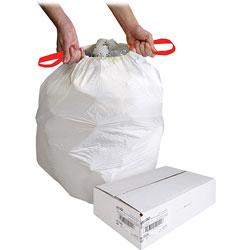 Genuine Joe White Drawstring Trash Bags, 13 Gallon, 0.9 Mil, 24 in X 25.125 in, Box of 60