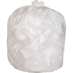 Genuine Joe White Trash Bags, 13 Gallon, 0.85 Mil, 24 in x 31 in, Box of 150