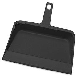 Genuine Joe Dust Pan, Heavy-Duty Plastic, 12 in, 12/CT, Black