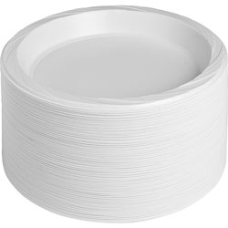Genuine Joe Plastic Plates, Reusable/Disposable, 10-1/4 in, 500/CT, White