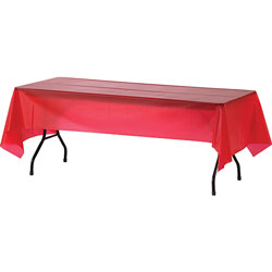 Genuine Joe Plastic Tablecover, 54 in x 108 in, 24/CT, Red